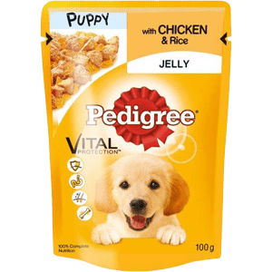 Puppy wet pouch with chicken and rice in jelly